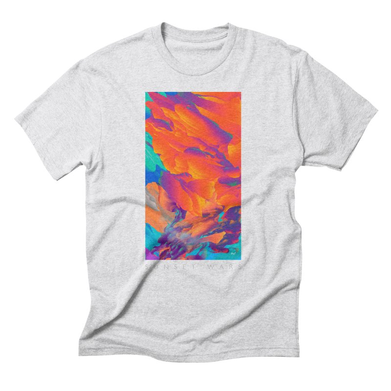 Sunset Wars in Men's Triblend T-Shirt Heather White by mu's Artist Shop