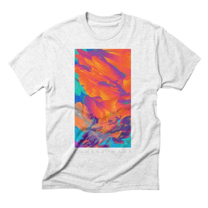 Sunset Wars in Men's Triblend T-shirt Heather White by mu's Artist Shop