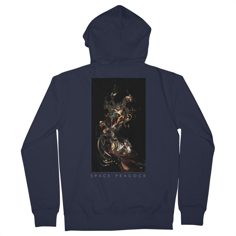 Space Peacock Women's French Terry Zip-Up Hoody by mu's Artist Shop