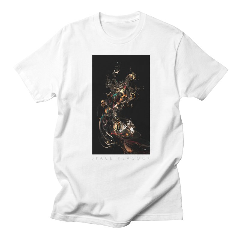Space Peacock in Men's Regular T-Shirt White by mu's Artist Shop