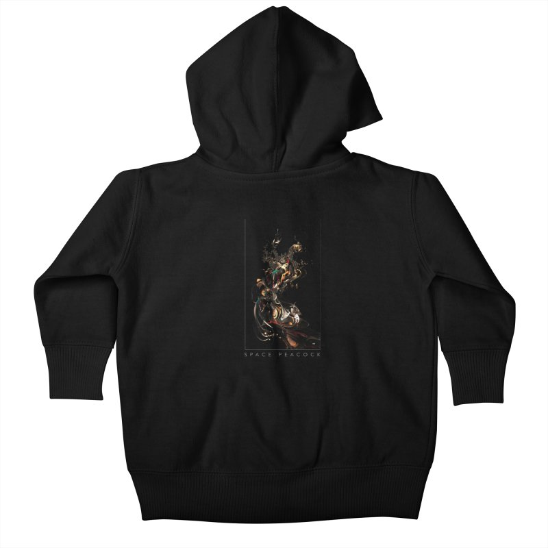 Space Peacock Kids Baby Zip-Up Hoody by mu's Artist Shop