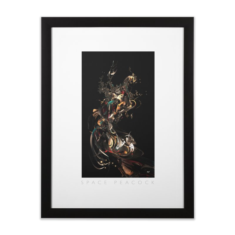 Space Peacock Home Framed Fine Art Print by mu's Artist Shop