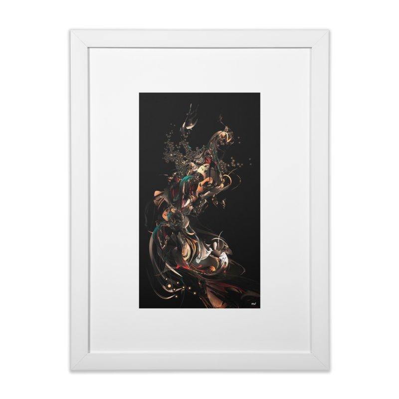 Space Peacock in Framed Fine Art Print White by mu's Artist Shop