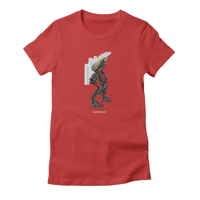 EMPEROR TRUMP in Women's Fitted T-Shirt Red by mu's Artist Shop