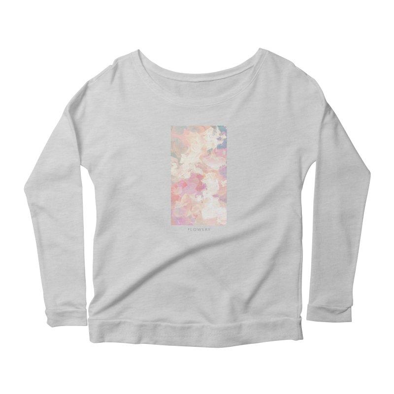 FLOWERY Women's Scoop Neck Longsleeve T-Shirt by mu's Artist Shop