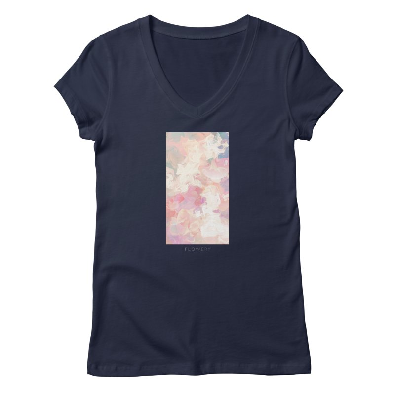 FLOWERY Women's Regular V-Neck by mu's Artist Shop
