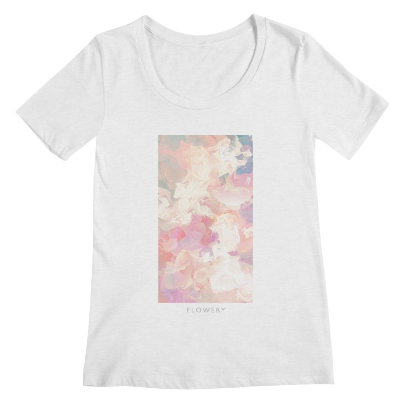 FLOWERY Women's Regular Scoop Neck by mu's Artist Shop