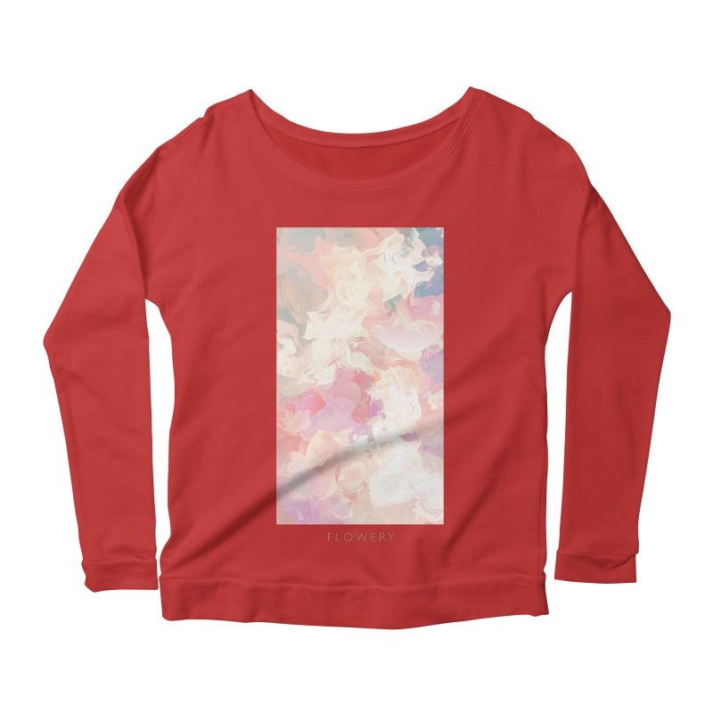 FLOWERY Women's Scoop Neck Longsleeve T-Shirt by mu's Artist Shop