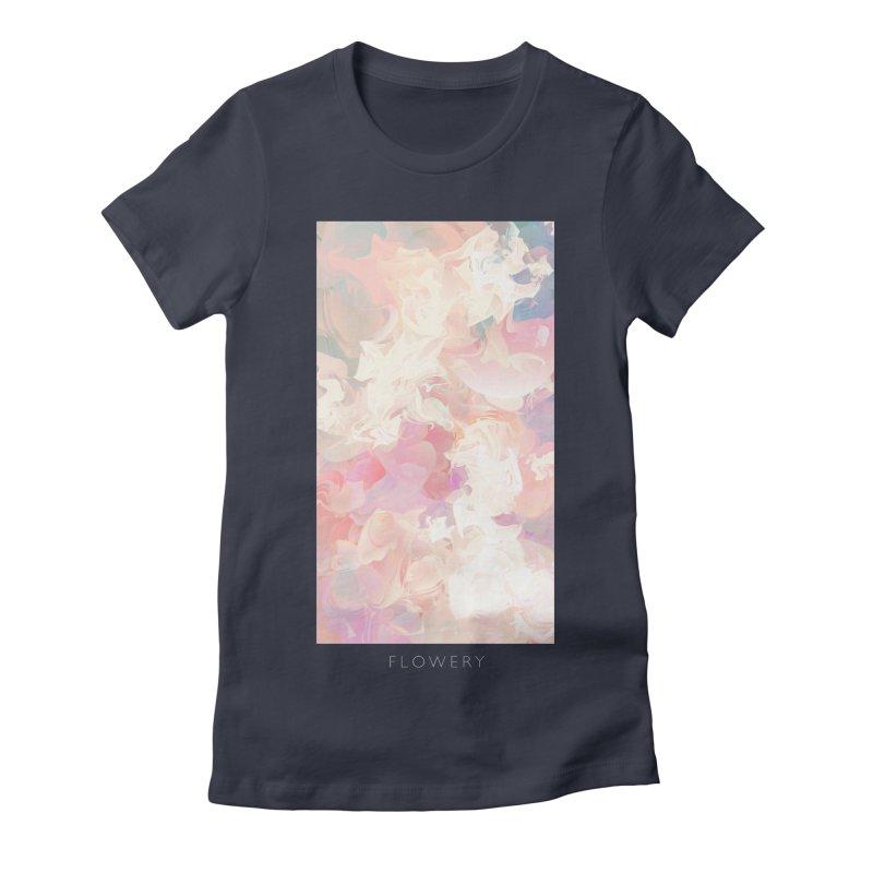 FLOWERY Women's Fitted T-Shirt by mu's Artist Shop