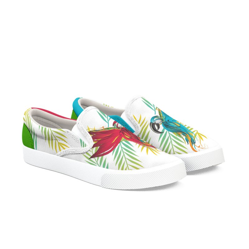 RED PARROT in Women's Slip-On Shoes by mu's Artist Shop