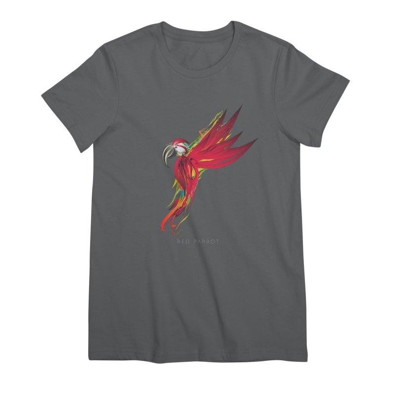 RED PARROT Women's Premium T-Shirt by mu's Artist Shop