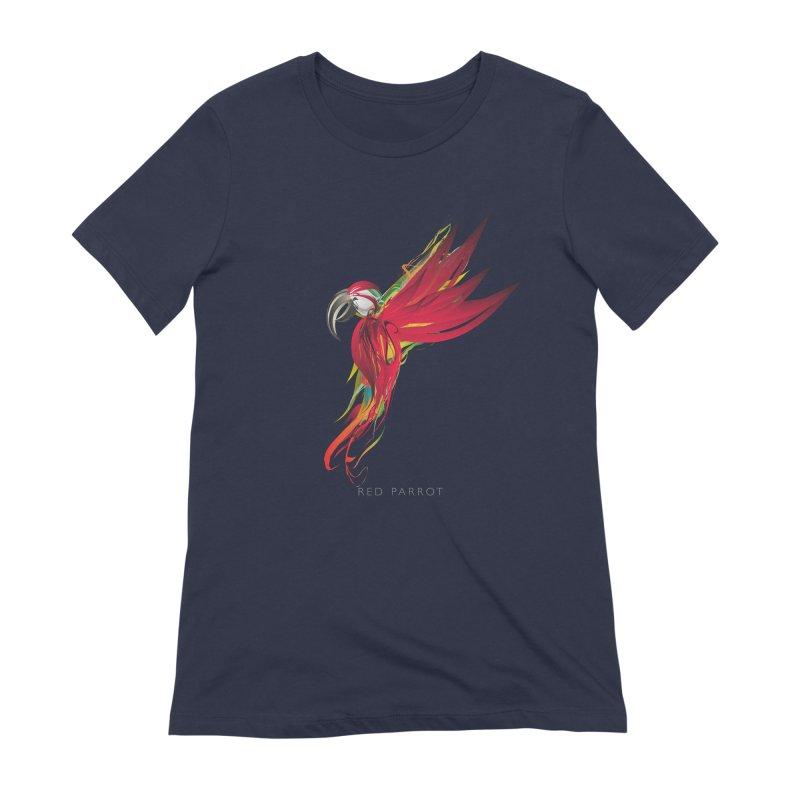 RED PARROT Women's Extra Soft T-Shirt by mu's Artist Shop