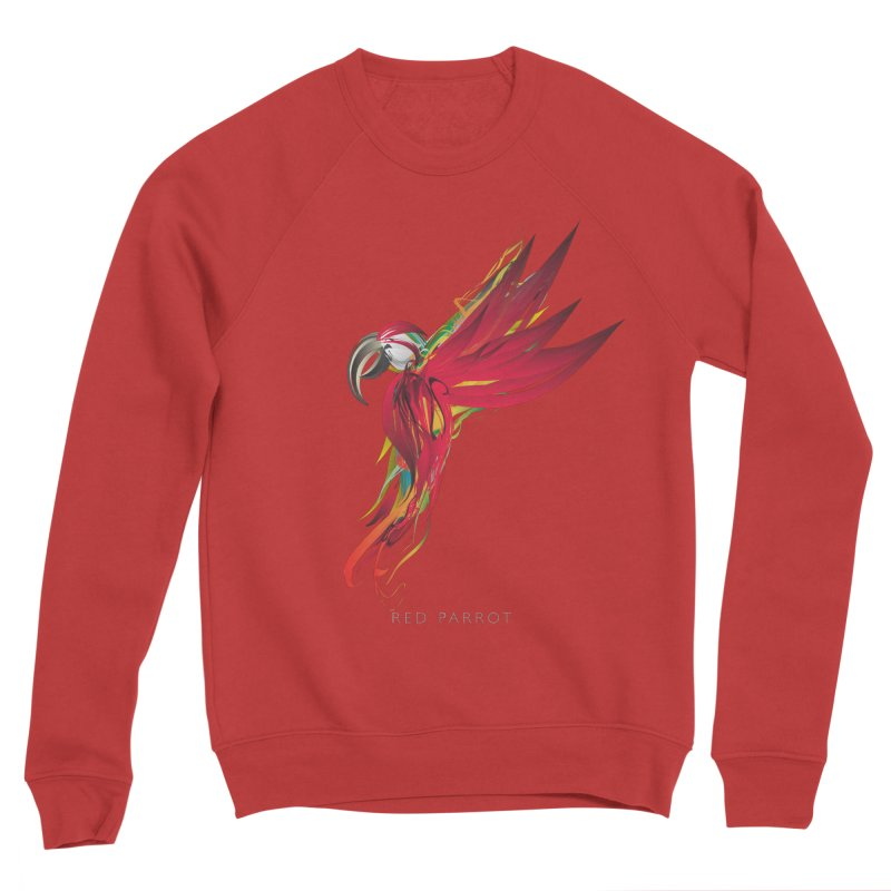 RED PARROT Women's Sponge Fleece Sweatshirt by mu's Artist Shop