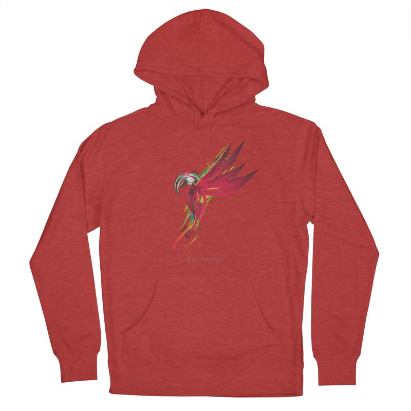 RED PARROT Women's French Terry Pullover Hoody by mu's Artist Shop