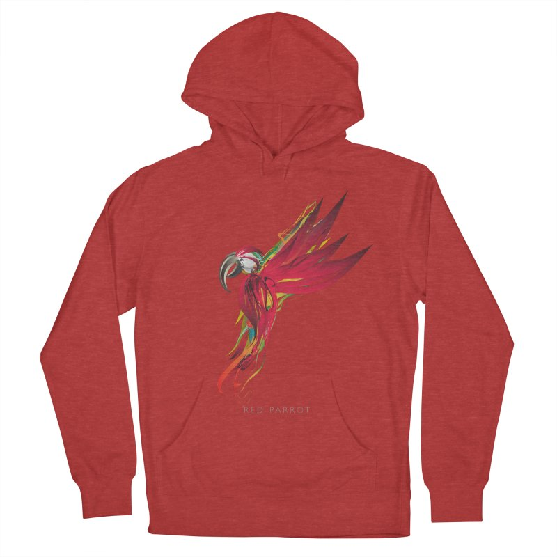 RED PARROT Men's French Terry Pullover Hoody by mu's Artist Shop