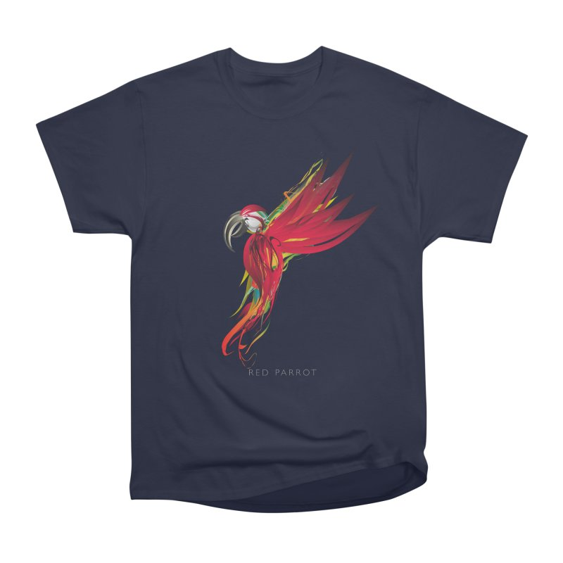 RED PARROT Women's Heavyweight Unisex T-Shirt by mu's Artist Shop
