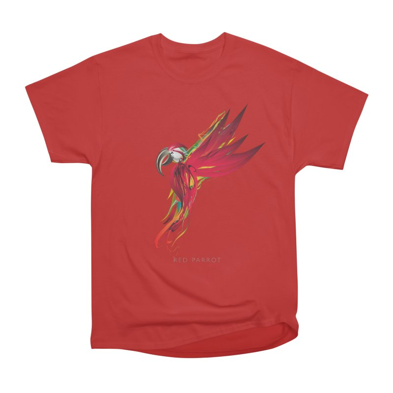 RED PARROT Men's Heavyweight T-Shirt by mu's Artist Shop