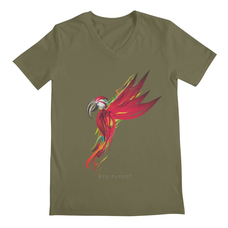 RED PARROT Men's Regular V-Neck by mu's Artist Shop