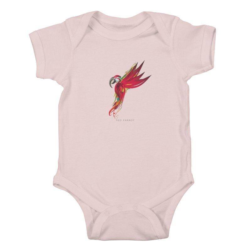 RED PARROT Kids Baby Bodysuit by mu's Artist Shop