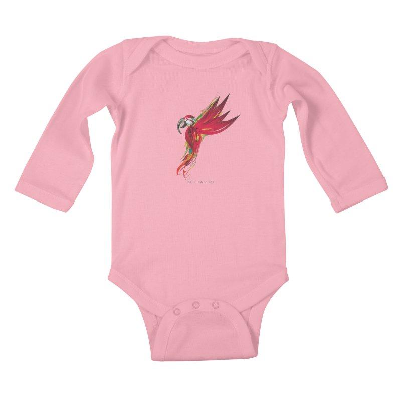 RED PARROT Kids Baby Longsleeve Bodysuit by mu's Artist Shop