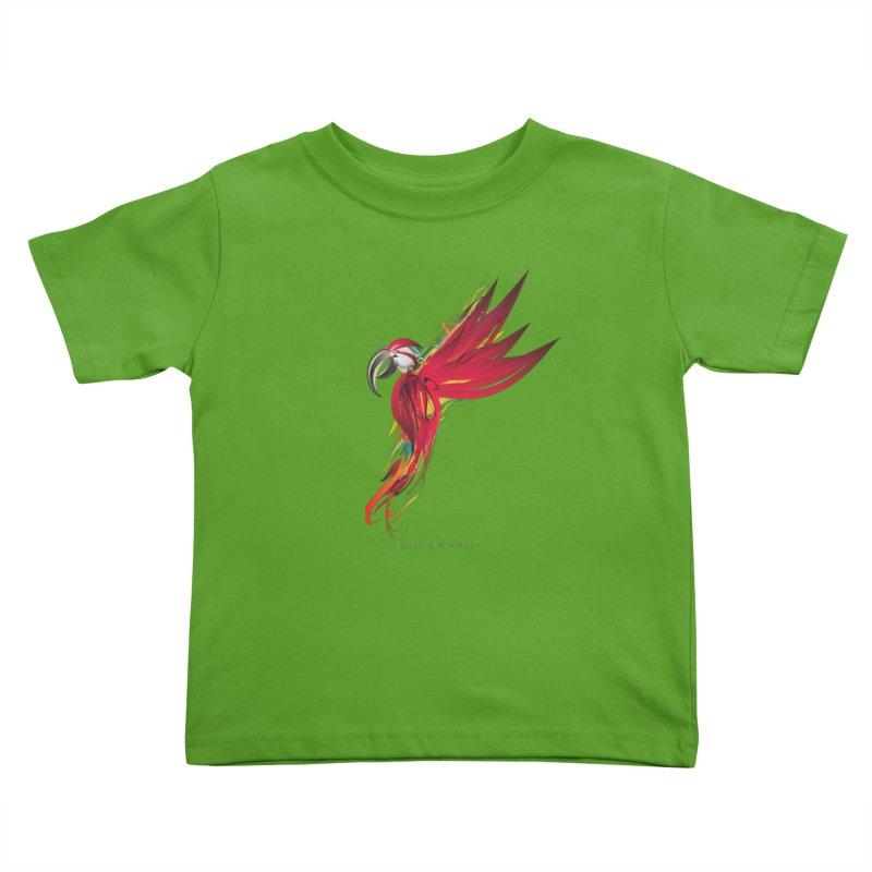 RED PARROT Kids Toddler T-Shirt by mu's Artist Shop