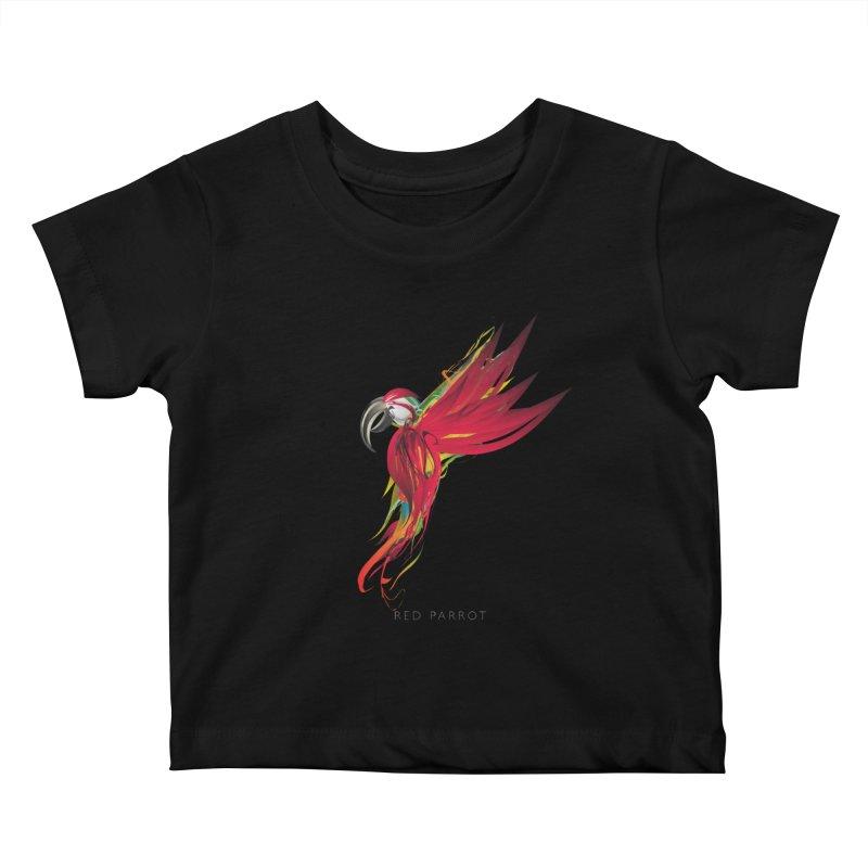 RED PARROT Kids Baby T-Shirt by mu's Artist Shop
