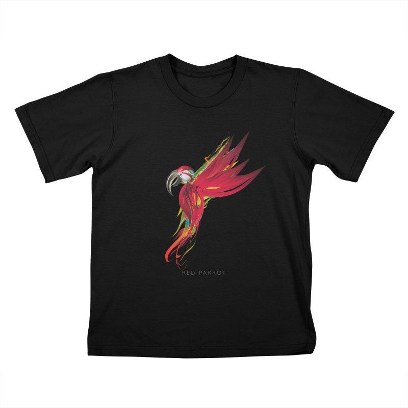 RED PARROT Kids T-Shirt by mu's Artist Shop