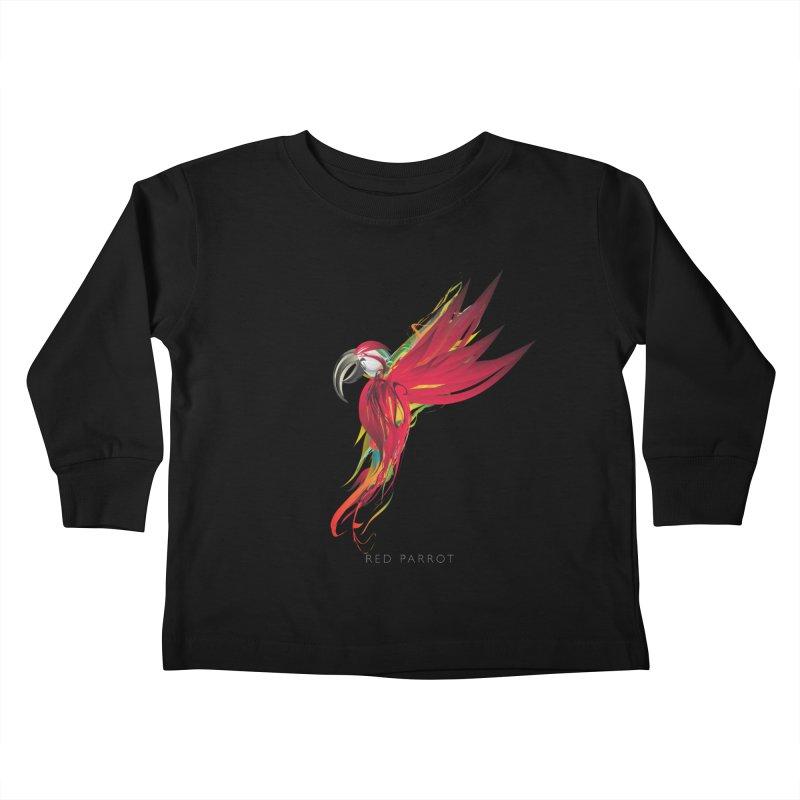 RED PARROT Kids Toddler Longsleeve T-Shirt by mu's Artist Shop