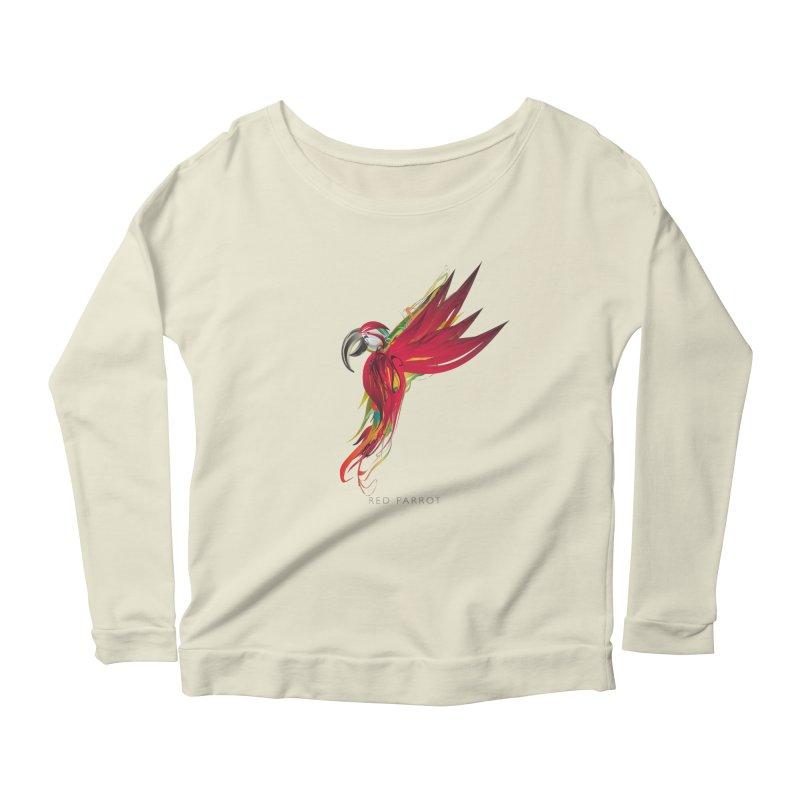 RED PARROT Women's Scoop Neck Longsleeve T-Shirt by mu's Artist Shop