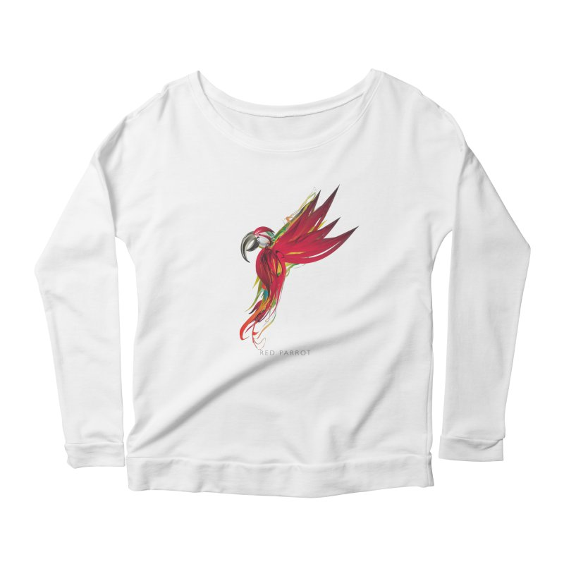 RED PARROT Women's Scoop Neck Longsleeve T-Shirt by mu's Artist Shop