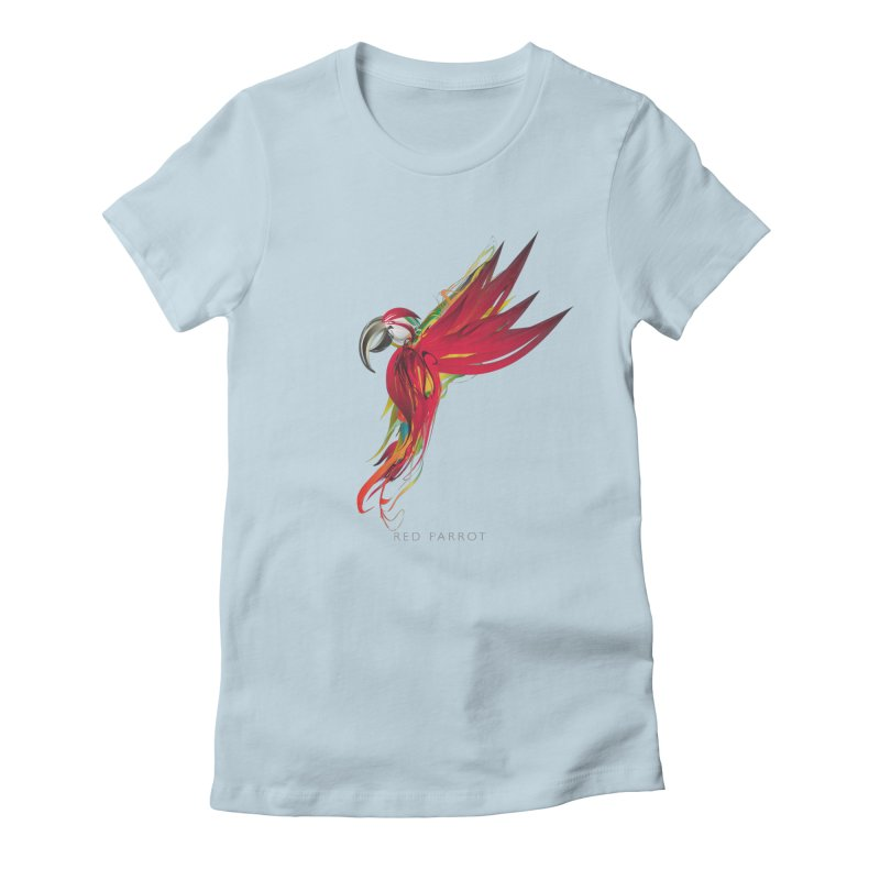 RED PARROT Women's Fitted T-Shirt by mu's Artist Shop