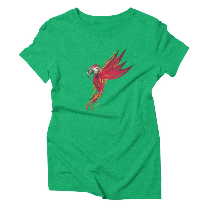 RED PARROT Women's Triblend T-Shirt by mu's Artist Shop