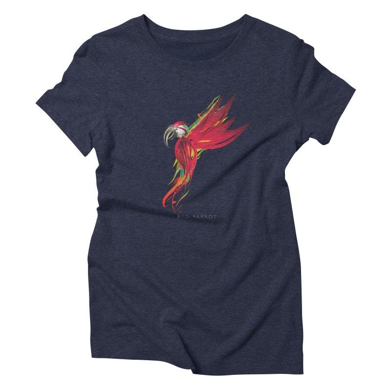 RED PARROT Women's Triblend T-Shirt by mu's Artist Shop