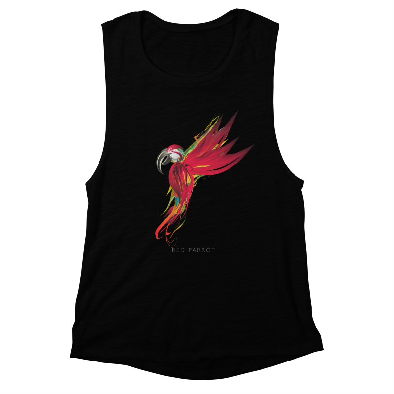 RED PARROT Women's Muscle Tank by mu's Artist Shop