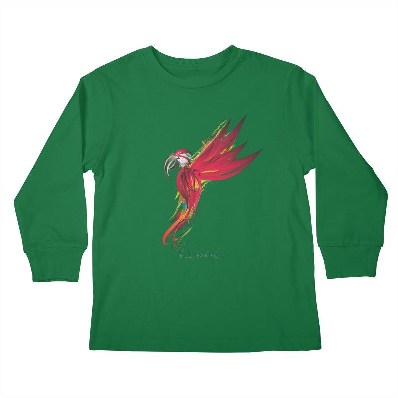 RED PARROT Kids Longsleeve T-Shirt by mu's Artist Shop