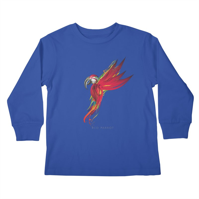 RED PARROT Kids Longsleeve T-Shirt by mu's Artist Shop