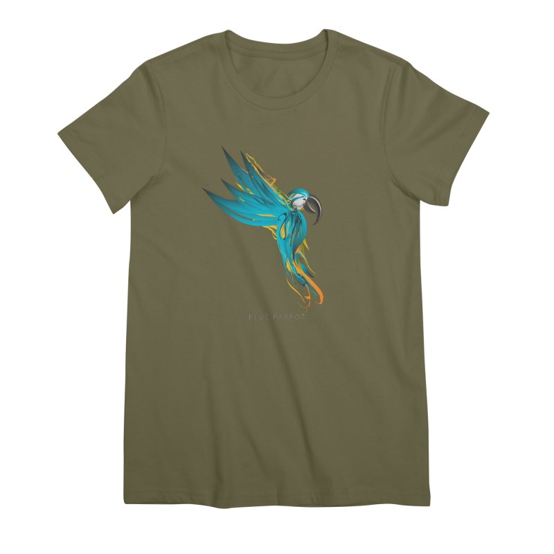 BLUE PARROT Women's Premium T-Shirt by mu's Artist Shop