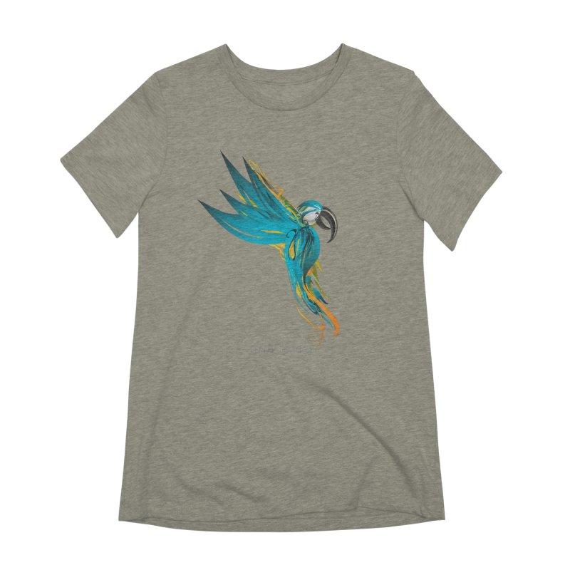 BLUE PARROT Women's Extra Soft T-Shirt by mu's Artist Shop