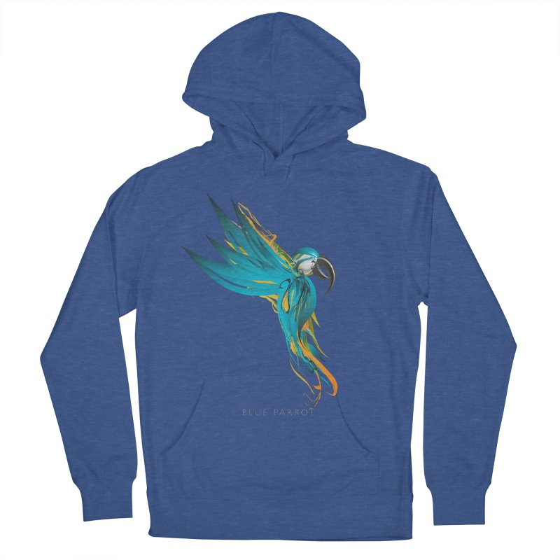 BLUE PARROT Women's French Terry Pullover Hoody by mu's Artist Shop
