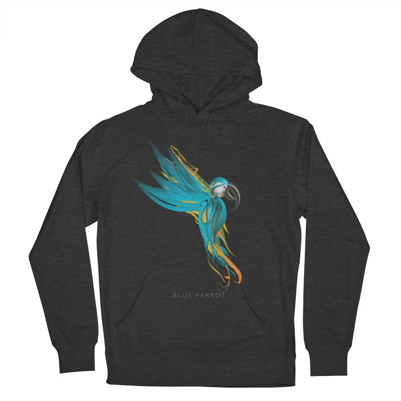BLUE PARROT Men's French Terry Pullover Hoody by mu's Artist Shop