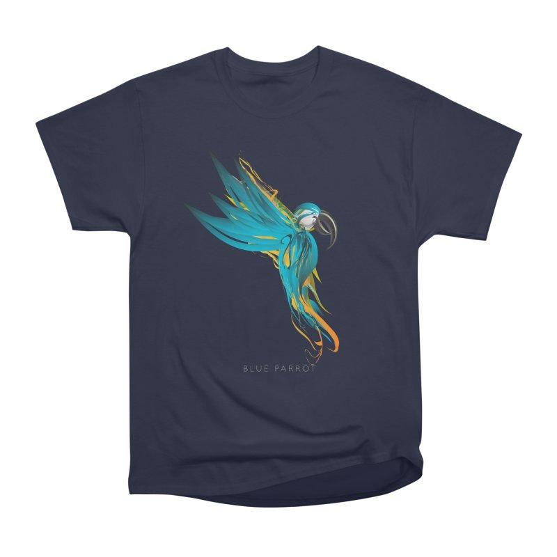 BLUE PARROT Men's Heavyweight T-Shirt by mu's Artist Shop