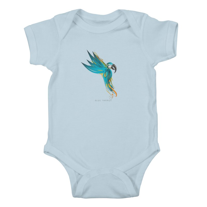 BLUE PARROT Kids Baby Bodysuit by mu's Artist Shop