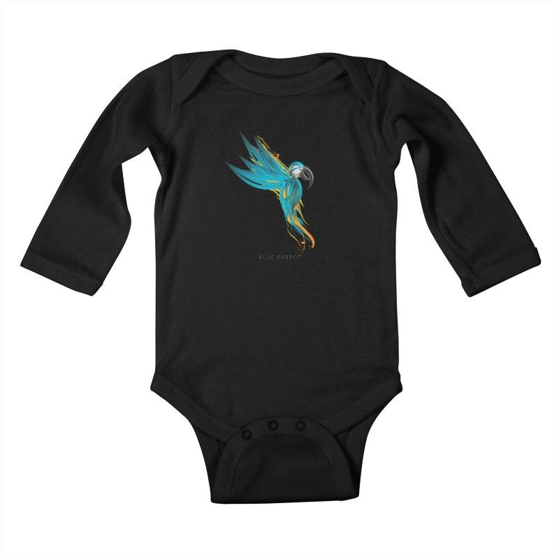 BLUE PARROT Kids Baby Longsleeve Bodysuit by mu's Artist Shop