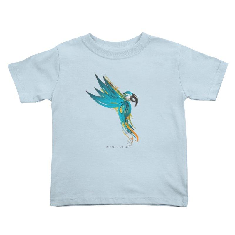 BLUE PARROT Kids Toddler T-Shirt by mu's Artist Shop