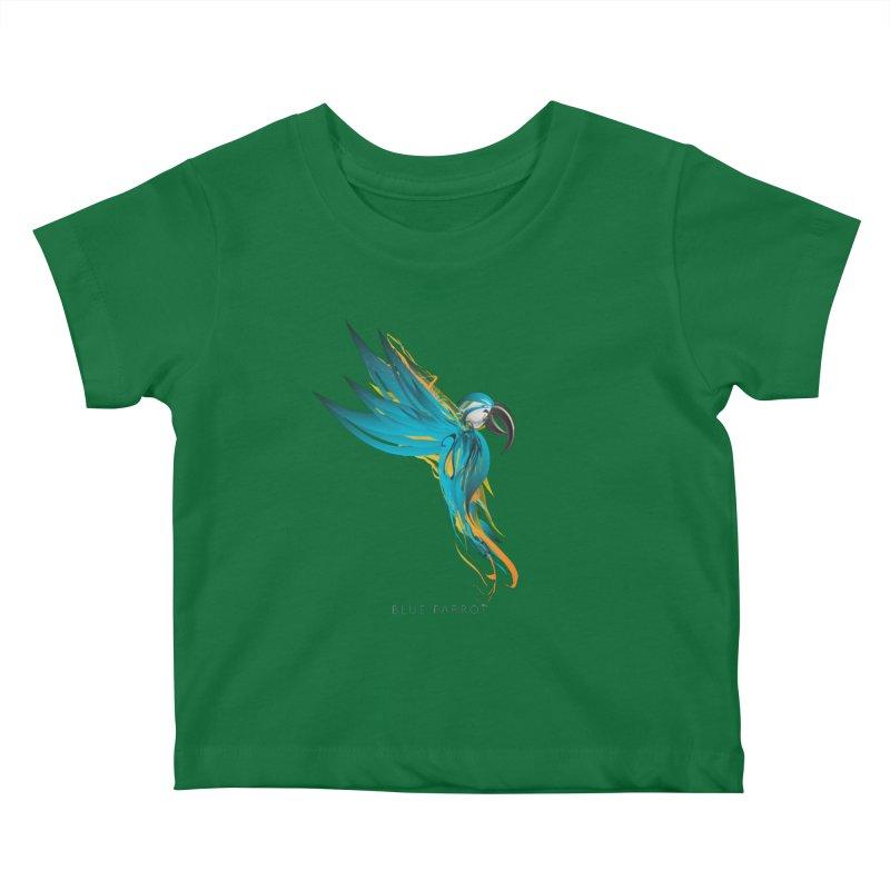 BLUE PARROT Kids Baby T-Shirt by mu's Artist Shop