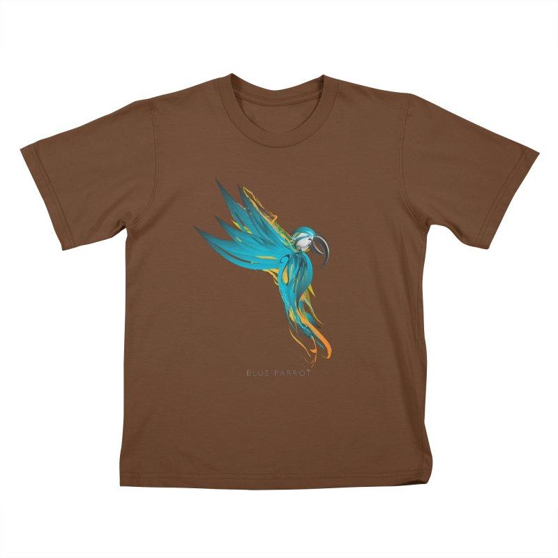 BLUE PARROT Kids T-Shirt by mu's Artist Shop