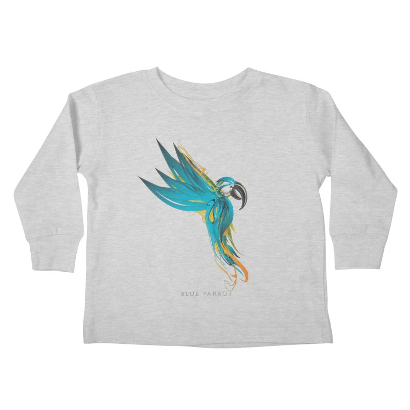 BLUE PARROT Kids Toddler Longsleeve T-Shirt by mu's Artist Shop