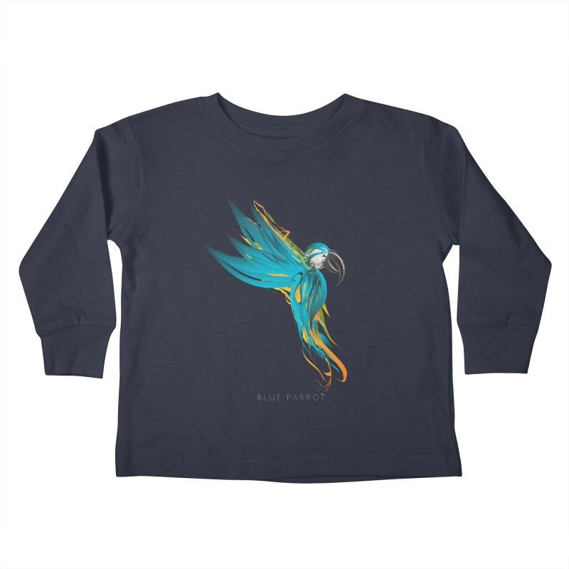BLUE PARROT Kids Toddler Longsleeve T-Shirt by mu's Artist Shop