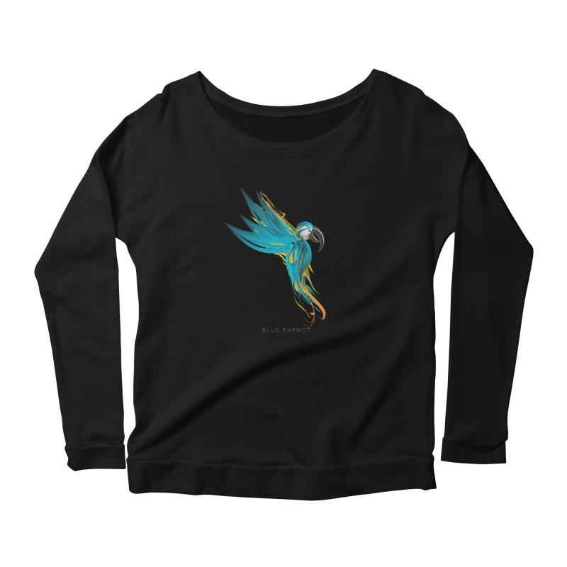 BLUE PARROT Women's Scoop Neck Longsleeve T-Shirt by mu's Artist Shop