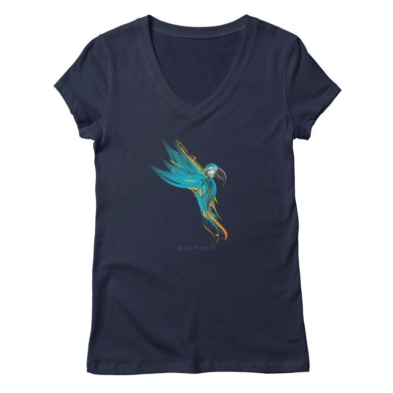BLUE PARROT Women's Regular V-Neck by mu's Artist Shop